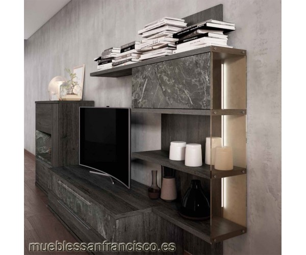 Composición mueble apilable salón diseño moderno 330cm, máxima calidad, alta capacidad. Económico. DETALLE ESTANTERÍA.