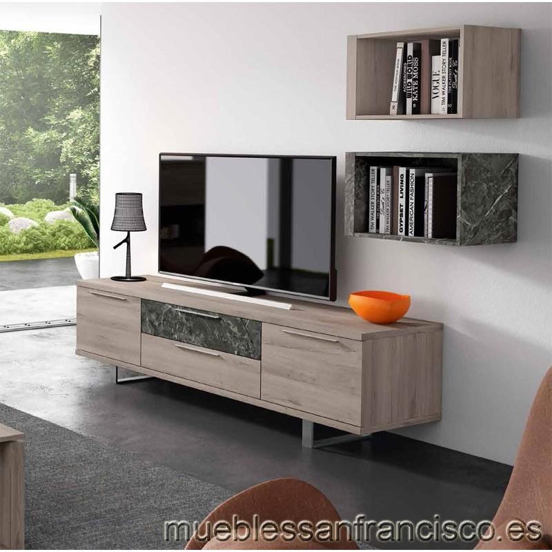 Mueble para TV diseño moderno 192cm con 2 puertas y 2 cajones. Nuevo modelo. Económico. Cubos a pared y sistema USB opcionales.