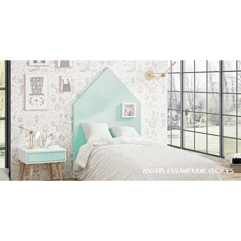 Cabecero juvenil modelo casita con ventana para somier de 90cm, alta calidad, económico, nuevo modelo.  Mesita opcional.