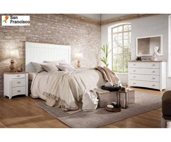 Dormitorio provenzal barato blanco y nogal