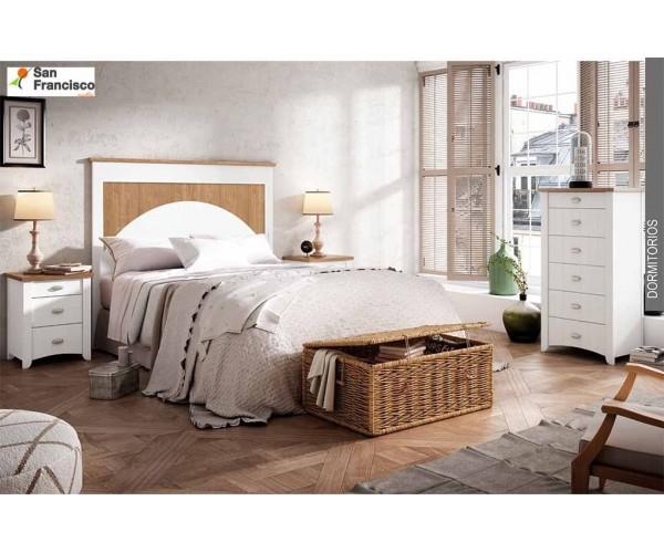 Dormitorio matrimonio diseño provenzal 264cm acabado Blanco y Nogal. Si