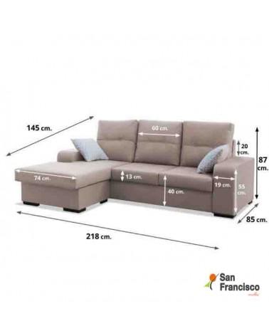 Chaise longue barata 220cm desenfundable tapizado beige